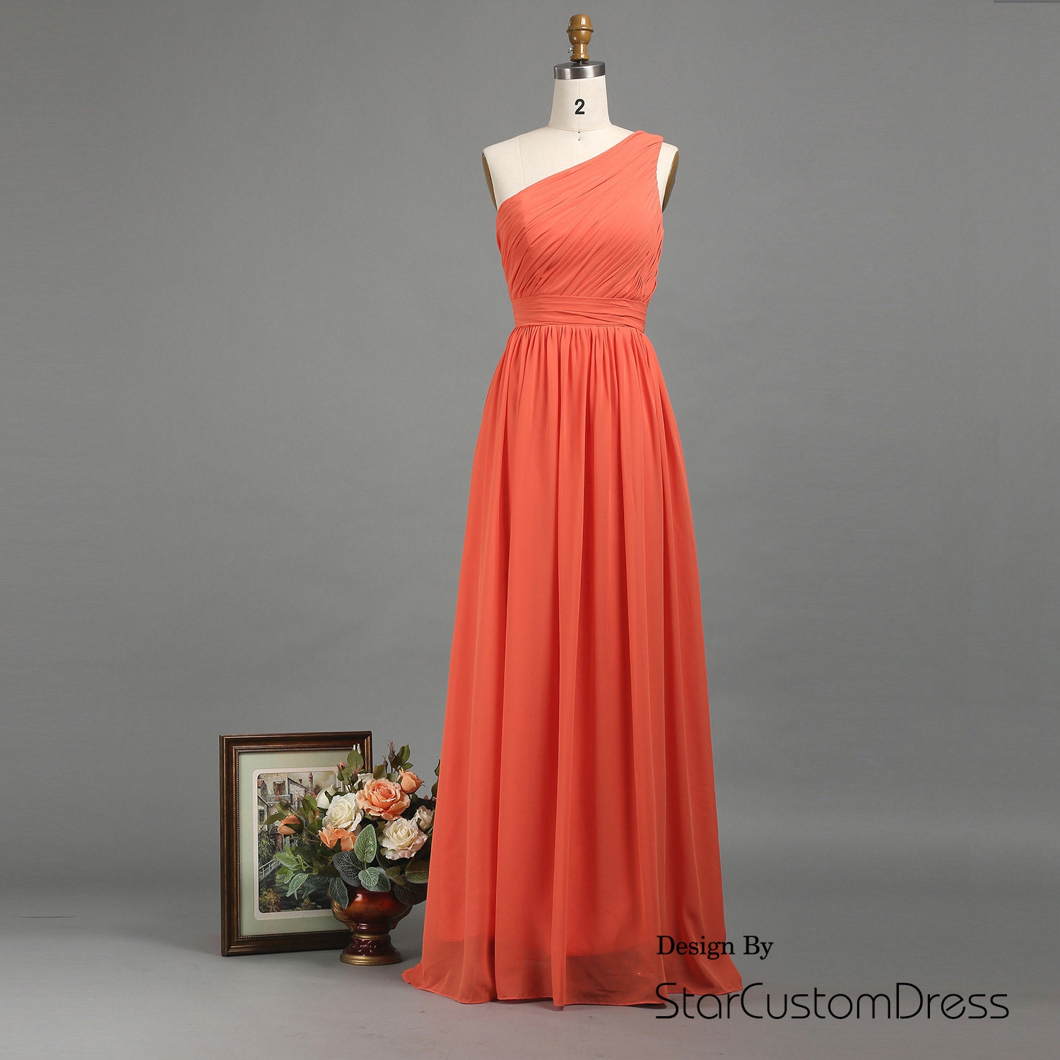 Coral one shoulder bridesmaid dress long by StarCustomDress