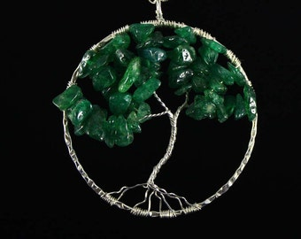 Dark Green Aventurine Sterling Silver Wire Wrapped Tree of Life Necklace