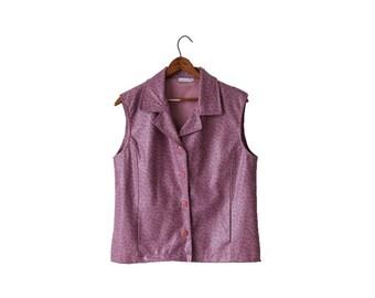 Vintage Lilac Faux Leather Vest Women Western Oversized Waistcoat Medium Size