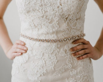 Rose Gold Crystal Wedding Sash Belt | Rhinestone Bridal Sash | Wedding Dress Belt | Rose Gold Bridal Sash | Rose Gold Stella Sash