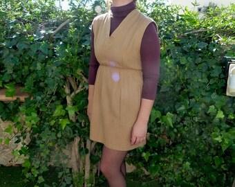 minidress khaki flannel neck at v vintage