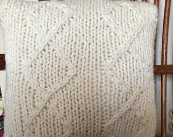 Decorative Knit Pillow - Diamond Design in Cream