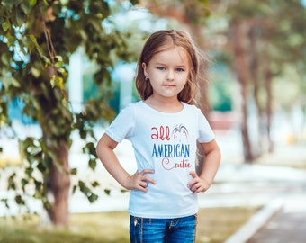 Kids Decal: All American Cutie Iron On Vinyl Decal 4th of July Kids  or   Choose the colors - Custom kids decal