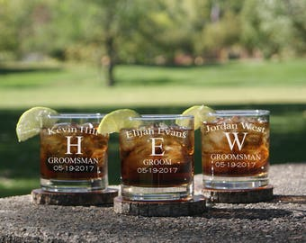 Personalized Whiskey Glasses, Groomsmen Gift Set, Rocks Glasses, Engraved, Custom, Scotch Glass, Groomsmen Gifts, Barware, Best Man Gift