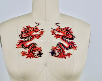 """PAIR of Chinese Red Dragon Patches. Satin, Embroidery Material. Iron on Backing. Tail and Tounge Detail. Mirrored. Red, Black and Gold 5.5"""""""