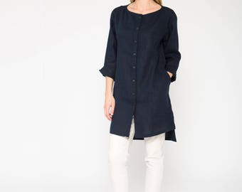 Long Dark Blue Linen Tunic Shirt / Long Dark Blue Linen Top With Side Slits / Linen Shirt With Longer Back / Dark Blue Linen Tunic