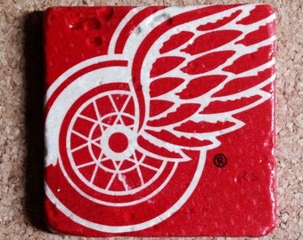 Detroit Red Wings Coasters ~  Stone Coasters ~Set of 4 Coasters ~ Natural Stone Tile Coasters ~ Hockey Coasters ~
