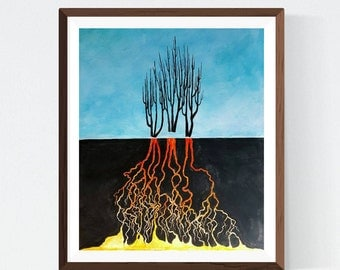 Strength Like Roots ~ Original Watercolor Abstract Painting by Essie Acquistapace, blue orange black, tree, wall art, inspiring, contrast