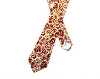 1960s Paisley Tie / Beau Brummell Tie / 60s Silk Paisley Tie / Red Paisley Tie / Beau Brummell Necktie / Skinny Tie