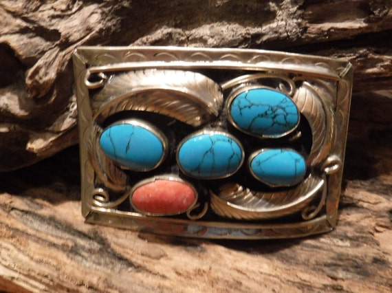 Sterling Silver Belt Buckle Mexican Sterling Silver Turquoise Coral Inlay  Heavy 54.1 Grams Vintage Buckle Signed  Stamped Mexico Silver
