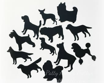Dog Die Cuts, Dog Silhouettes, Black Dogs, 12 Ct.
