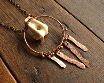 Fox Bone and Copper Necklace