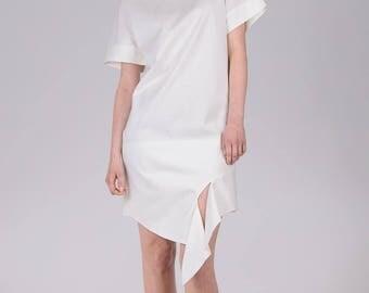 White cotton dress / Woman's summer dress / Unusual hem white tunic / Asymmetric white cotton dress / Fasada 1780