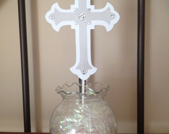 Silver & White Cross Cake Topper for Communion, Baptism, Christening, Confirmation, Religious Event