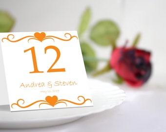 Printable Orange Hearts Table Number Tent Template. Instant Download. Editable Colors & Text.