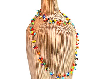 Vintage Bohemian 1960'S Multi Colored, Glass Beaded, Choker, Necklace