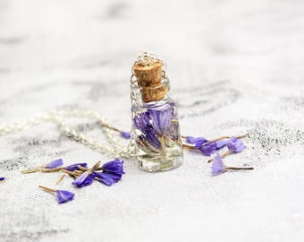 vial necklace purple pendant necklace bottle jewelry tiny necklace purple necklace daughter mom gift lavender jewelry nature necklace Рю11