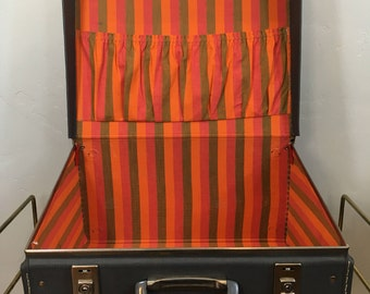 Vintage Gray Suitcase Luggage Hardshell Rainbow Interior Fabric Small Retro
