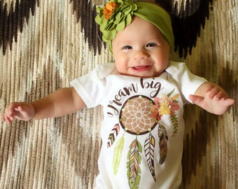 Dream Big Onesie, Boho Baby Outfit, Newborn Baby Gift, Bohemian Baby Clothes, Dreamcatcher Onesie, Coming Home Outfit