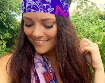 Flutter ~ #219 Butterfly Headband, Butterflies, Purple Headband, Hippie Runner, Hippie Headband, Headbands, Hiking, Fitness Headband, Run