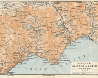 1930 Salerno, Amalfi, Amalfi Coast Italy Antique Map