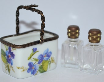 Limoges Miniature Perfume Basket Limoges France Peint Main Hand Painted Box Two Bottles La Gloriette Limoges