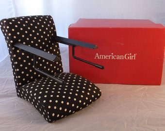 """American Girl Place Bistro Booster Seat Treat Seat Pleasant Company for 18"""" Doll RETIRED Good Vintage Condition Black Polka Dot Original Box"""