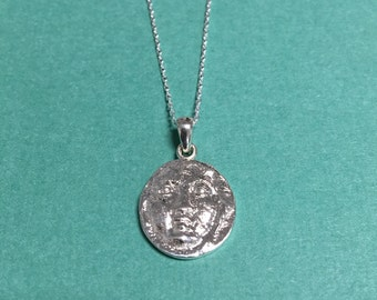 Ancient Greek Medusa Face Coin Pendant - Handmade sterling silver