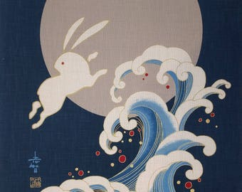 New Japanese cotton Noren quilting panel cloth - bunny, moon and waves