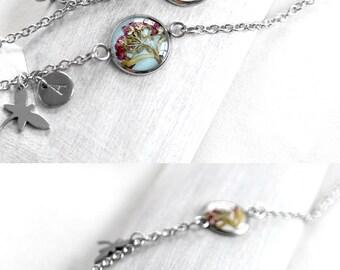 Personalized jewelry gift women Personalized gift Initial jewelry Personalized bracelet girlfriend Name jewelry Custom bracelet blue charm
