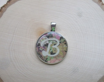 """Initial """"B"""" Antiqued Silver Pendant / Country Garden / Floral / Flowers"""