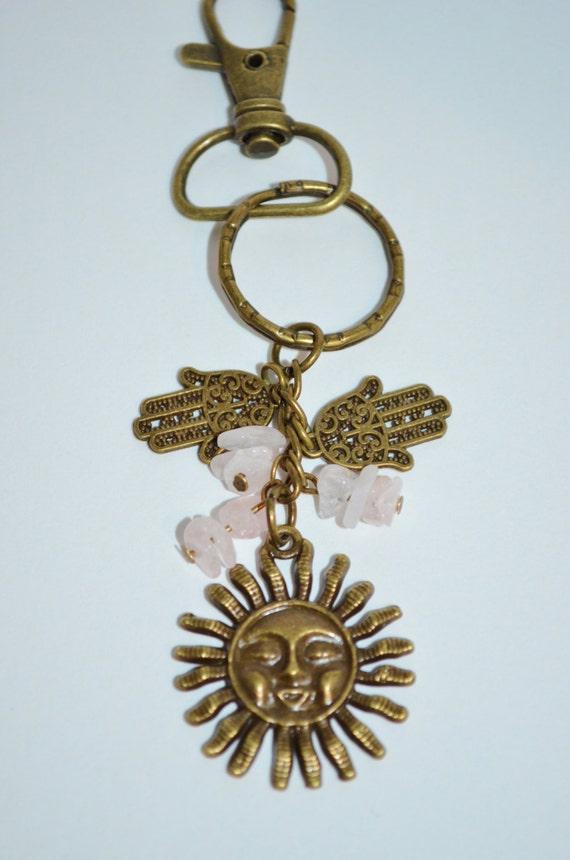 Swivel Clip Keychain Sun, Sun & Rose Quartz Keychain, Hamsa Hand Quartz Keychain, Hamsa Hand Clip, Sun Clip, Hamsa Hand and Quartz Keychain