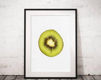 Fruit photography, Kiwi print, Tropical print, Printable wall art, Kitchen wall decor, Fruit prints, Kitchen wall prints, Printable photo