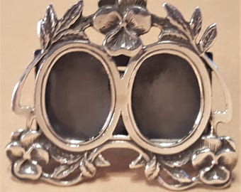Miniature Sterling Silver Double Wedding Photos Antique Vintage Picture Frame 2 Inch Violets Flowers