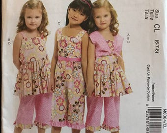 McCalls M6064 - Ruffles and Lace Treasured Collection Little Girls Bolero, Dress, Jumpsuit, and Pants - Size 2 3 4 5 OR 6 7 8