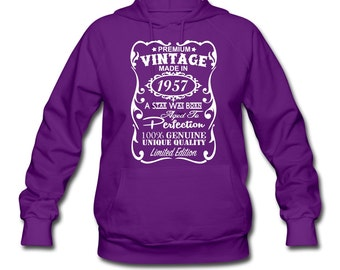 """60th Birthday Gift Ideas for Women **VELVETY PRINT** Unique """"Made in 1957"""" Hooded Sweatshirt - Memorable Hoodie - Birthday Gift for Her"""