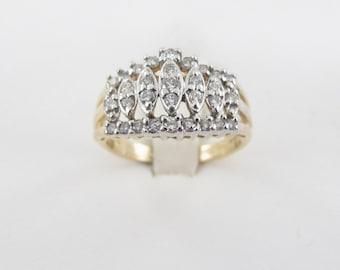 10K Yellow Gold Ladies Pyramid Style Diamond Band Ring Size 7