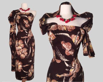 Alfred SHAHEEN late 40s early 50s Hawaiian Tiki Sarong Dress /Rockabilly VLV Pinup /Hourglass/femme fatale