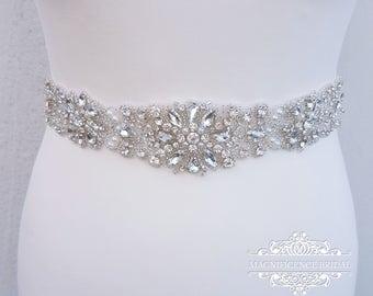 Bridal belt, wedding belt, bridal sash, rhinestone belt, wedding dress belt, bridal accessories, sash belt, beaded bridal sash, LAURA