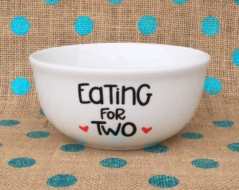Pregnancy Announcement - Eating For Two Bowl - Hand Painted Eating For Two Pregnancy Announcement - Hand Painted - Unique Announcement