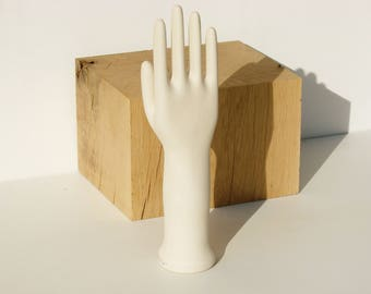 Large vintage French ceramic /hand mold/ glove mold /size 8 /ring holder/ceramic hand/display/jewelry holder/industrial decor