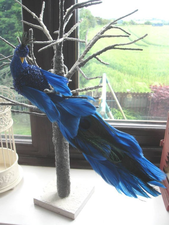 Artificial Royal Blue Feather Peacock With Peacock Eyes