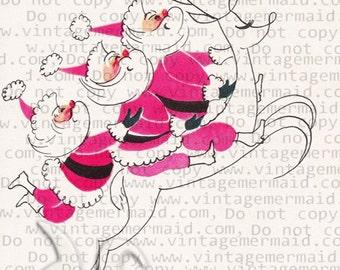 1950's PINK SANTA Pink Christmas Retro Pink Fabric Block pcs14.