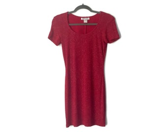 90s Sparkly Red Slinky Mini Dress
