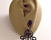 Black Flower Petals Clip On Earrings Silver Tone Vintage Teardrop Open Rib Dangles Round Ring Discs Flat Top Button
