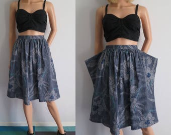Blue cotton summer skirt, high waisted, gathered, floral & stripey, french vintage retro, knee length, small waist 26