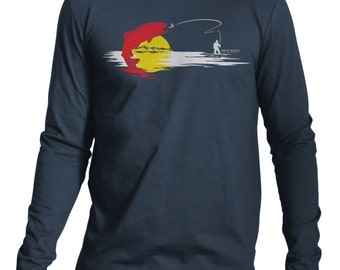 CO State Trout Long Sleeve Fly Fishing Tee,Trout,Fly,Fishing Tee,Fly Fishing Gifts,Fishing Shirt,T-Shirt,Fishing Art,Fish,Fishing T-Shirt