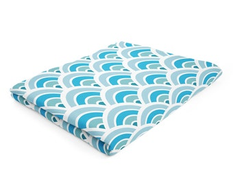 Blue Fleece Blanket, Circle Pattern Throw, Blue White Blanket, Light Cyan Throw, Soft Fleece Throw, Modern Blanket, Blue White Throw