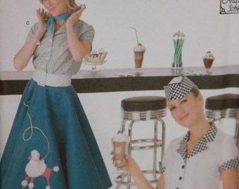 Simplicity 3847 Women's  Poodle Skirt Vintage Style Diner  Costume Sewing Pattern- UNCUT Size 6-8-10-12 / Circle Skirt by Andrea Schewe