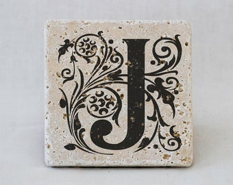 Monogrammed His and Hers Natural Drink Coasters with Customized Initials on Stone Tiles- Set of 2 Custom Drink Coasters, custom wedding gift